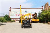 护栏工程专用小四轮护栏打桩机机械