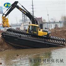 鱼塘清淤泵清淤水路两栖履带挖掘机